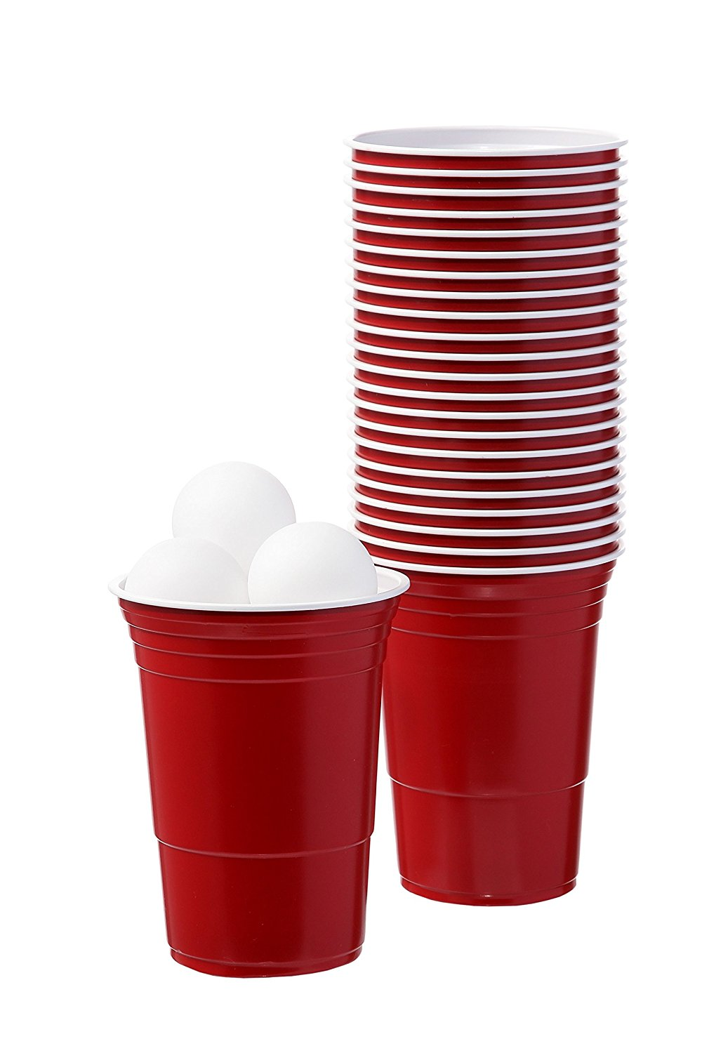 Reusable Disposable Plastic 16oz plastic cup Red Party Cups 24pcs Beer Pong Party Kits