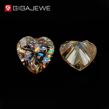 GIGAJEWE Heart Cut Loose Moissanite Gemstone Yellow Color 4.0ct 10mm Lab Grown Loose Diamond Test Positive Free Shipping