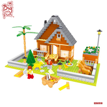 2017 best selling kids educational farmhouse with farm animal models plastic building blocks toys