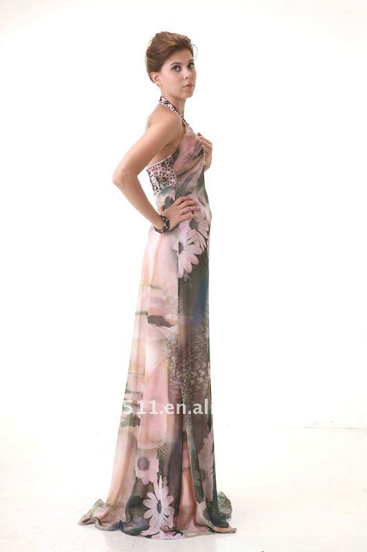 latest style fashion top quality Beading Halter Printing chiffon evening dress AS103