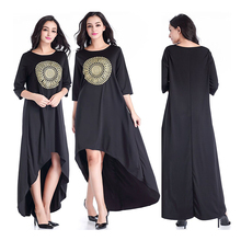 High quality women abaya free size cotton blend Indonesia black abaya dress