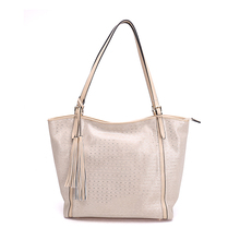 Metal leather shining shoulder long strip bag women with tassel