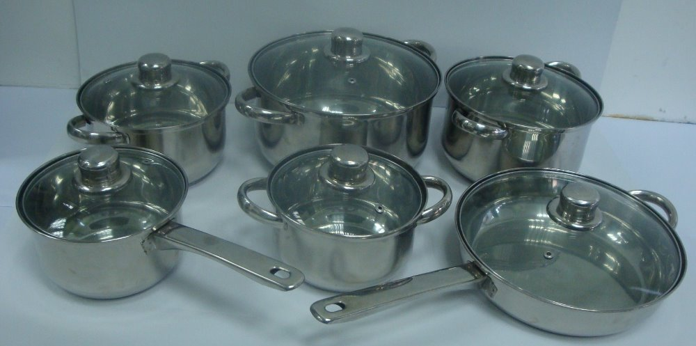 12 pieces Stainess Steel Cookware Pot Set Cooking Pot Set