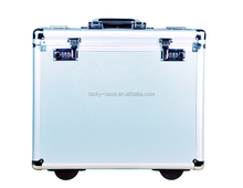 Aluminum Clamshell Case Silver Wheel Rolling Suitcase Waterproof and Shockproof Aluminum Case with Combination Lock