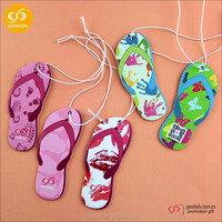 Best quality and hot sell slippers shaped promotion gift paper car air freshner