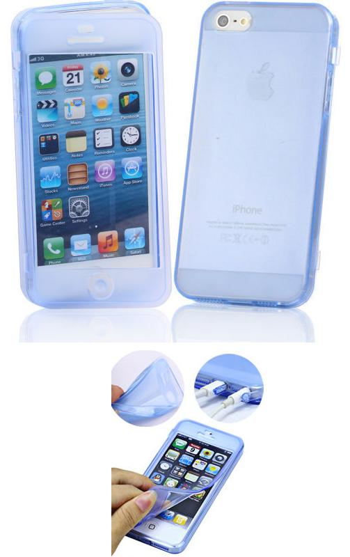 SUPER SLIM FLIP GEL CLEAR CRISTAL SiLiCONE CASE COVER FOR APPLE iPHONE 5 5S 4 4S WITH TOUCH SCREEN