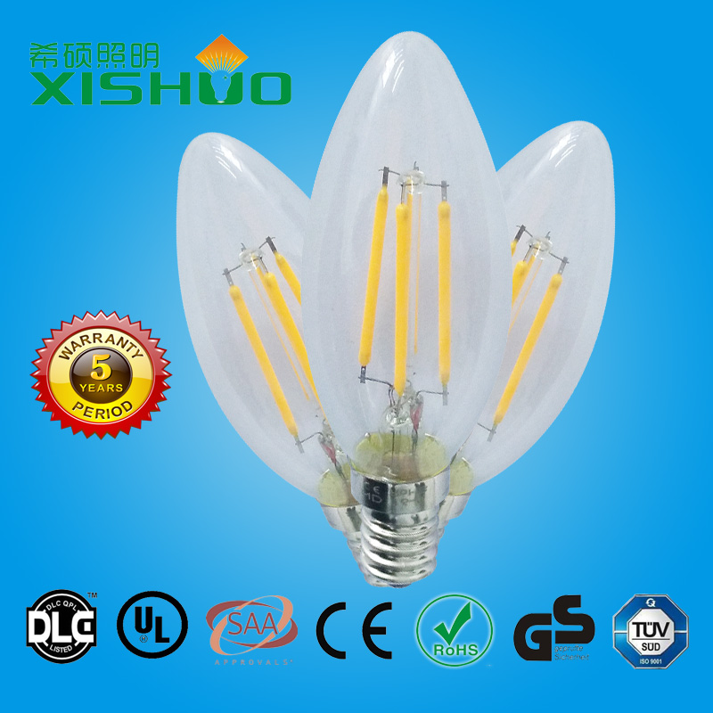 CE ROHS TUV approved 4w E27 vintage led filament edison bulb dimmable led bulb smd filament bulb