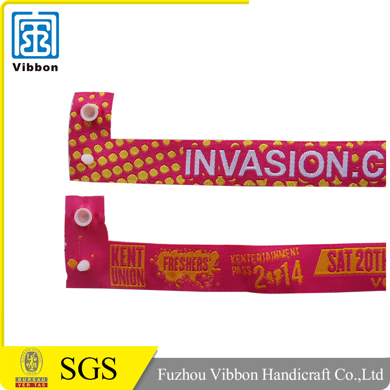 Custom design one time used wrist band woven wristband festival fabric wristband