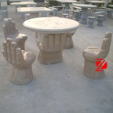 hand shape granite table and chair set