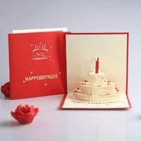 3D Paper Laser Cut Pop up birthday postcard