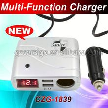 Guangdong factory 4-wheel drive off road accessories three USB socket adapter CE ROHS FCC approved car charger holder