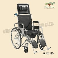 Steel high back reclining wheelchair with commode
