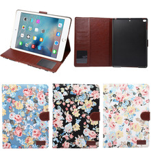 2017 new trending flower pattern leather protective cover for ipad 9.7