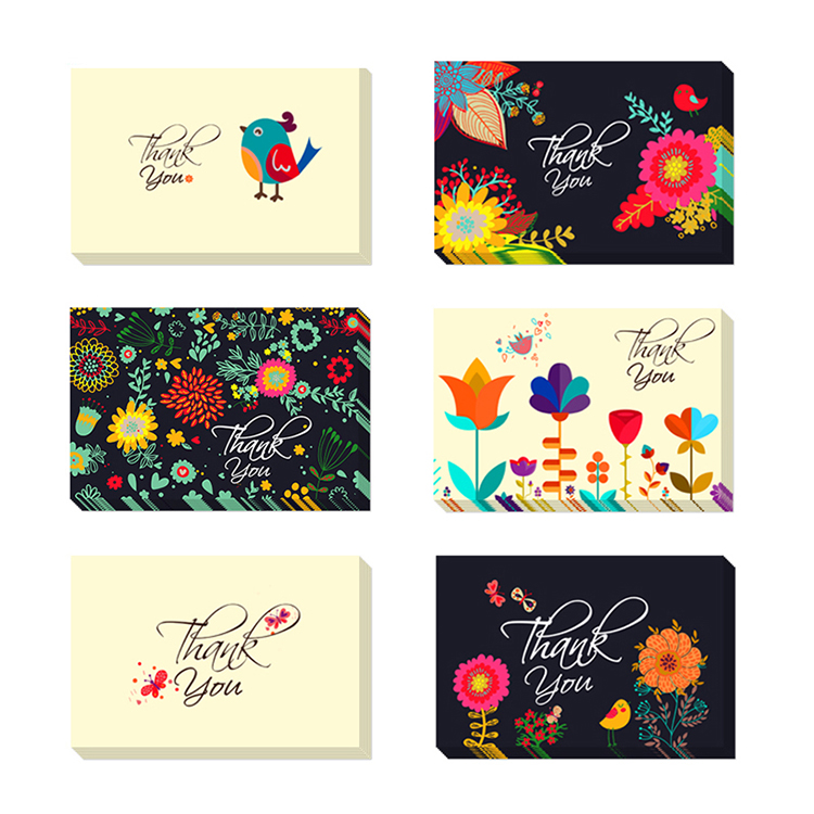 (Can be customized)Floral Thank you card Black with envelope sticker