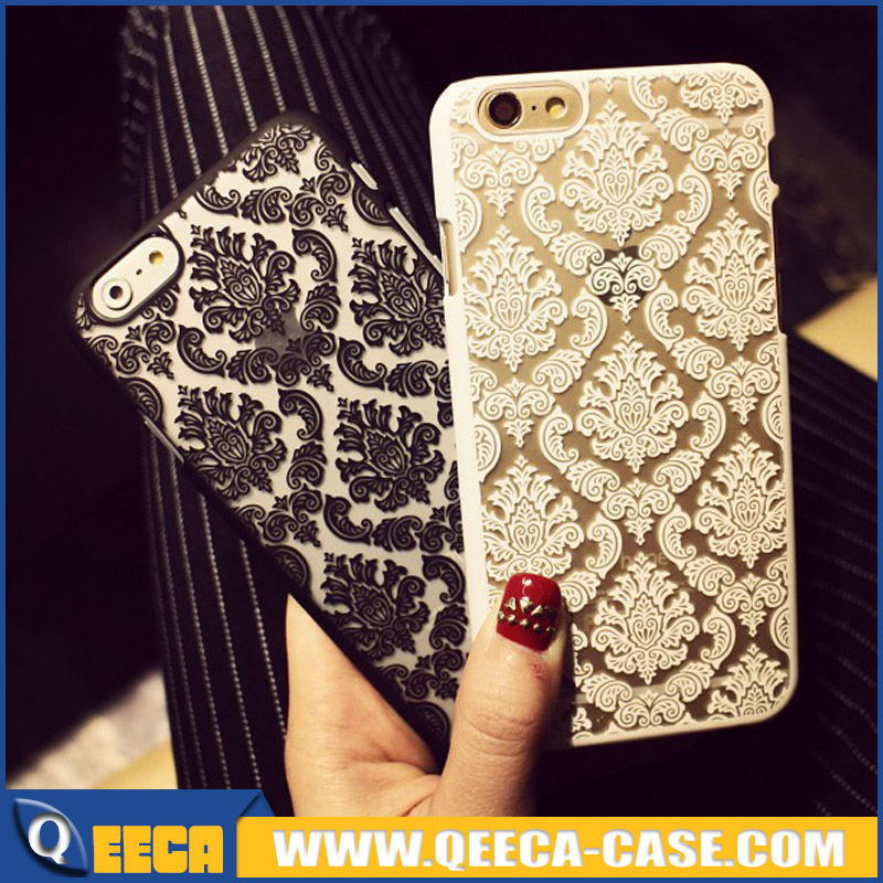 Fancy damask PC plastic hard back cover retro palace flower printed phone case for iphone 6 6s plus