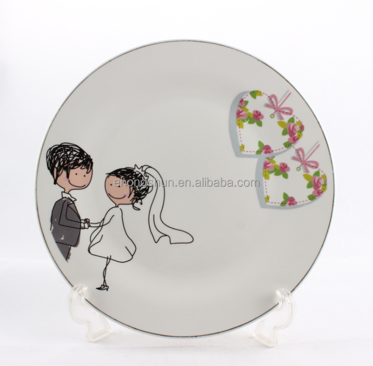 Wholesale gold rim unique porcelain dinnerware, wedding plates modern dinnerware sets