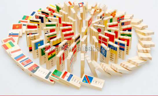 Wholesale Funny Wooden Toy Bricks Children National Flag Building Block
