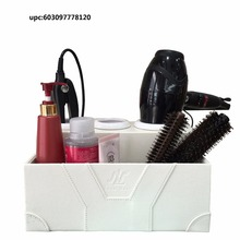 2015 new products white crocodile leatherette bathroom countertop hair styling station, bathroom storage,styling tool organizer