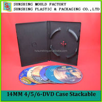 High Capacity 6disc 14mm DVD Case/Black Multi DVD Case