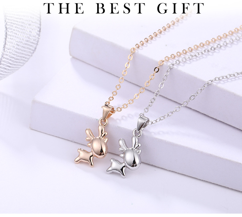 Christmas festival gift cute 3d deer shape necklace