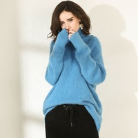 Fur blue turtleneck 100% angora wool knitting sweater