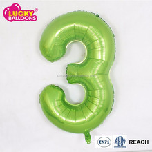 EN71 approval number shape apple green party decoration foil inflatable helium number balloons