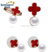 Red cross real natural cultured freshwater 8mm button pearl Pendant/Earrings/Ring set with chain genuine pearl set jewelry