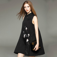 High quality sleeveless Chinese-style dress OEM short embroidery party dress