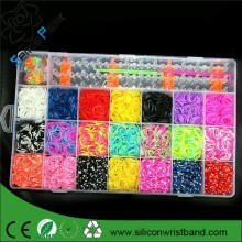 Colorful Gifts 4400 pcs fun rubber loom bands box set make rubber band dIY loom charms 4200 bracelet silicone kit