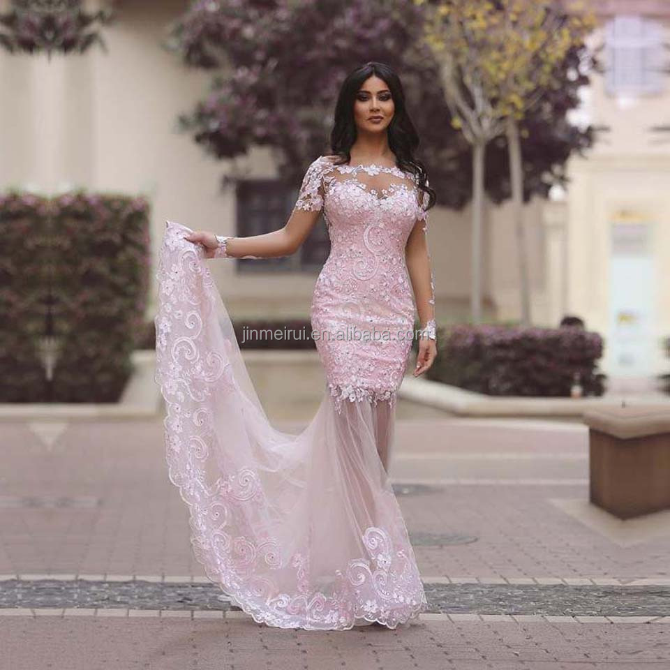 Pink Lace Appliques Evening Dresses With Weddings 2017 Formal Party Gowns Mermaid Sexy Long Arabic Prom Dress Vestido de Festa