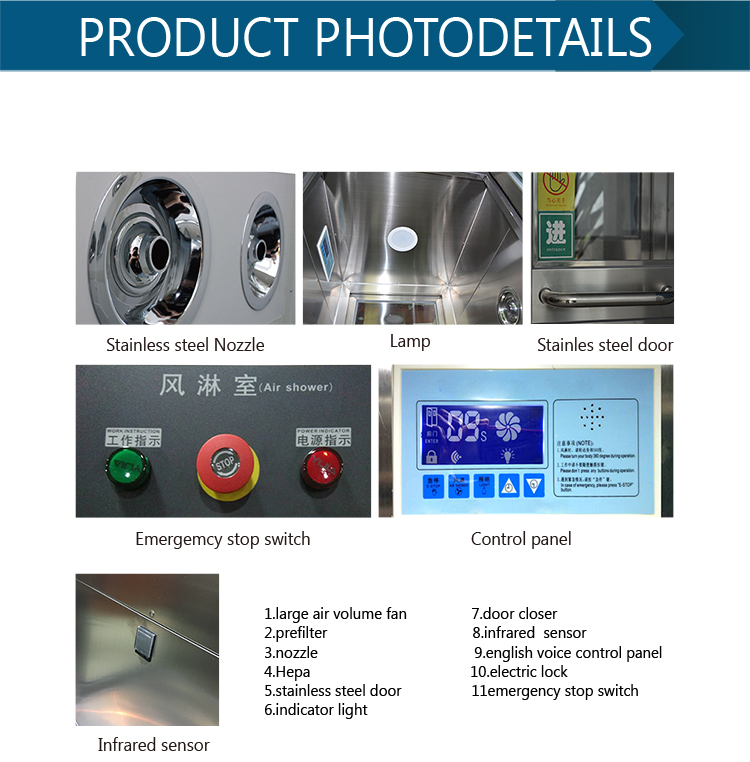 Factory price industrial Pharmaceutical stainless steel clean room Air Shower china manufacturer