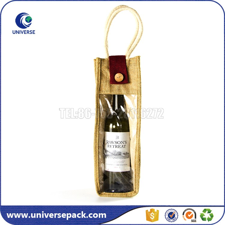 New Design Custom Jute Tote Wine Bottle Bag With Wood Button