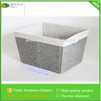 paper woven storage basket with liner