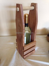 Custom logo single bottle wooden wine tote vintage wood carrier