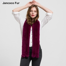Long Genuine Fur Scarves Real Rex Rabbit Fur Knitted Scarf Women Men Winter Fashion Neck Warm