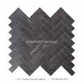 "Professional 1""x 3"" Polished Black Herringbone Mosaic Graphite Stone"
