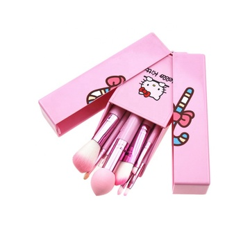 Nylon Brush Material and Wood Handle Material Hello Kitty 8 Pcs makeup brush set