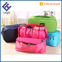 Multifunction lightweight tote travel bra and panty bag inner 4 elastic slip pockets toiletries clothes bra storage bag