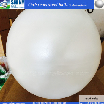 400mm Hanged Christmas steel ball with pearl white color