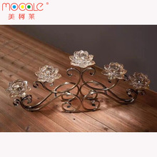 Crown Shape Decorative Glass Candle Holder Candlestick For Wedding Centerpiece With Iron Stand