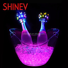 2017 custom logo plastic flash illuminated led ice bucket