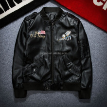 Custom Latest Outdoor Waterproof Biker letterman varsity Leather Jacket Man Made In China