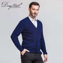 Promotion Seasonal Top Quality V Neck Sexy Dark Blue Men's Sweater Buttons Cardigan