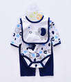 Baby boys romper set 4 in 1 set romper pants bib socks