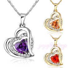latest products in market jewelry necklace crystal double gold heart necklace