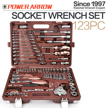 123 PCS mirror 1/4 inch ,1/2 inch ,3/8 inch DR. metric Cr-V Car Repair Tool Comprehensive Hand socket wrench Tools kit Set