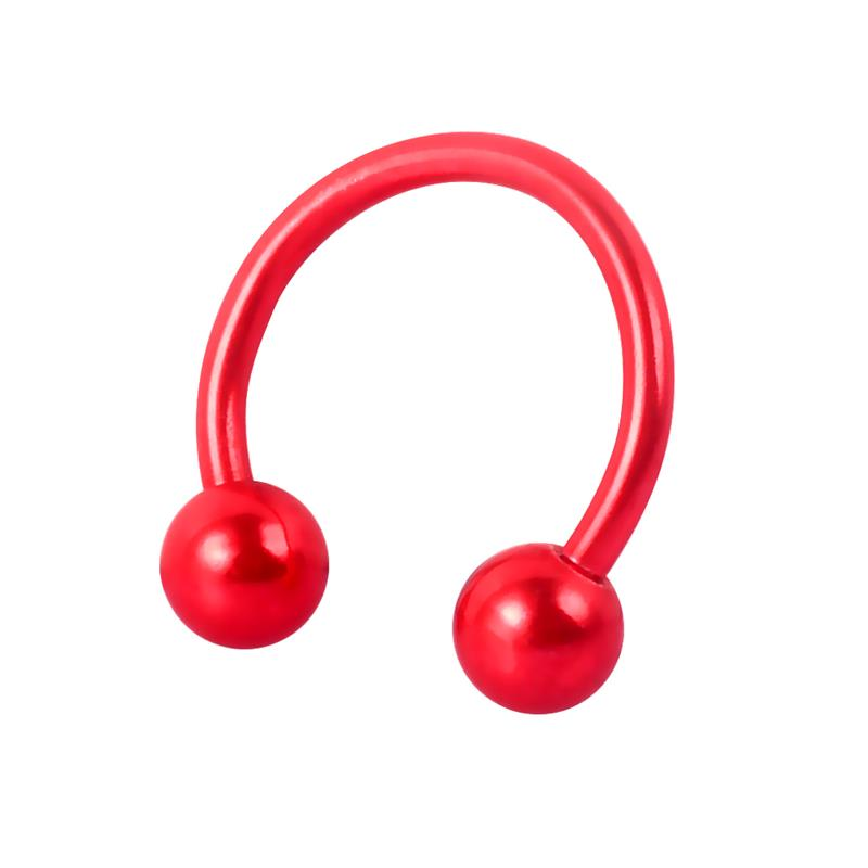 On sale nose piercing stainless steel circular barbell red horseshoe barbell for men and women