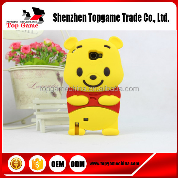 3D Cute Cartoon Winnie Bear Soft Rubber Silicone Back Cover Case For Samsung Galaxy Note 2 II N7100