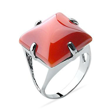 Square Natural Gemstone, 925 Silver Ring