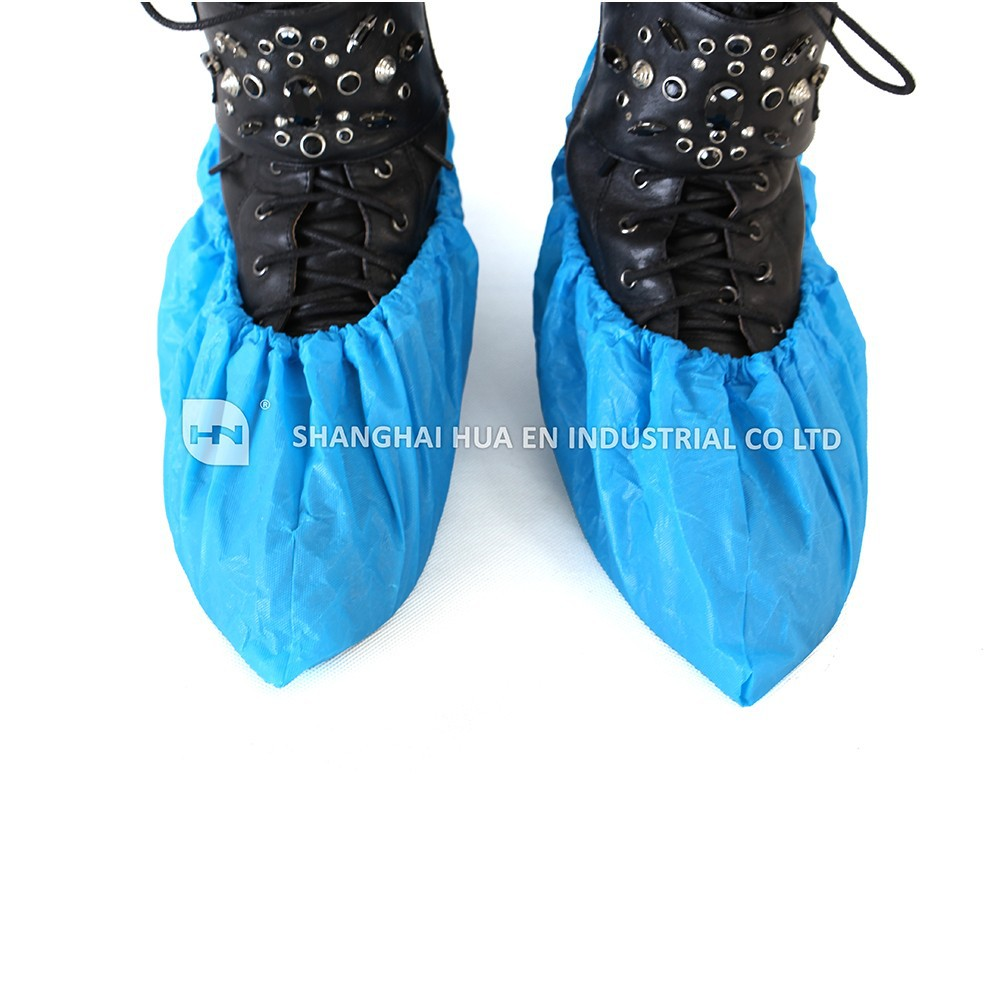 single use anti-slip PP shoe cover with printing, printed skidproof PP non-woven shoe cover, printed machine made PP shoe cover